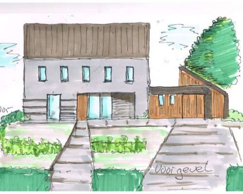 schets-huis-tuinontwerp-voortuin-oeffelt